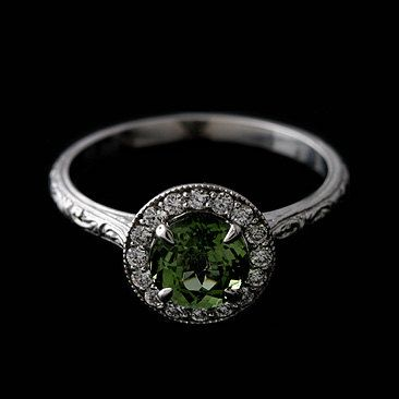 Diamond Round Green Tourmaline Engraved Vintage Style Engagement Ring