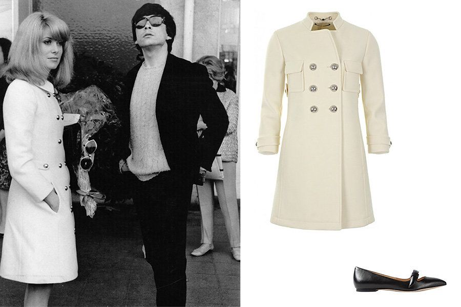 A tailored coat for day - With David Bailey, 1966 Gucci white wool double-breasted crepe coat, $2,135; profilefashion.com; Marc by Marc Jacobs Seditionary ballerinas, $315; farfetch.com