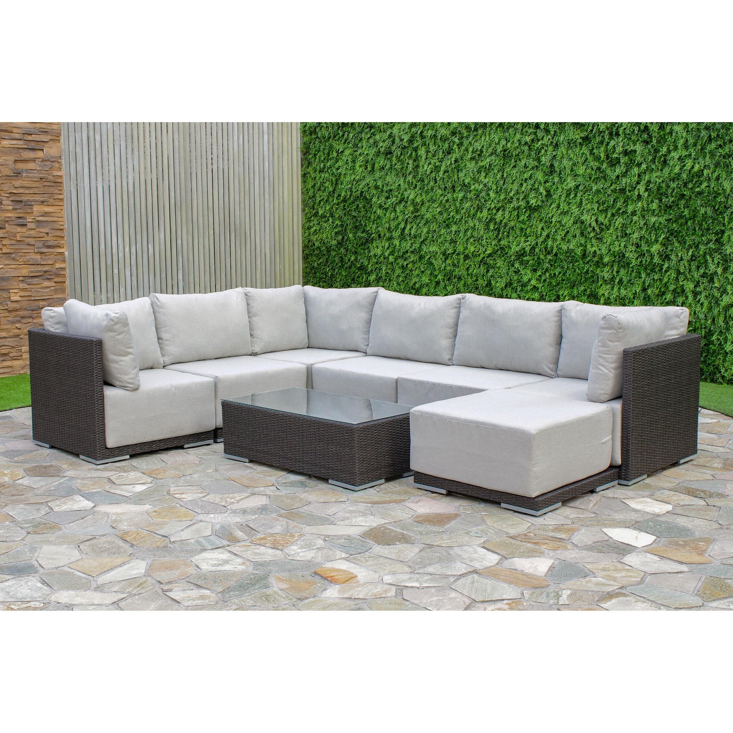 Aventura Wicker Sectional Set Brown Size 5 Piece Sets Patio