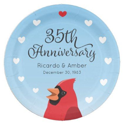 #wedding - #35th Wedding Anniversary Cardinal and Hearts Paper Plate