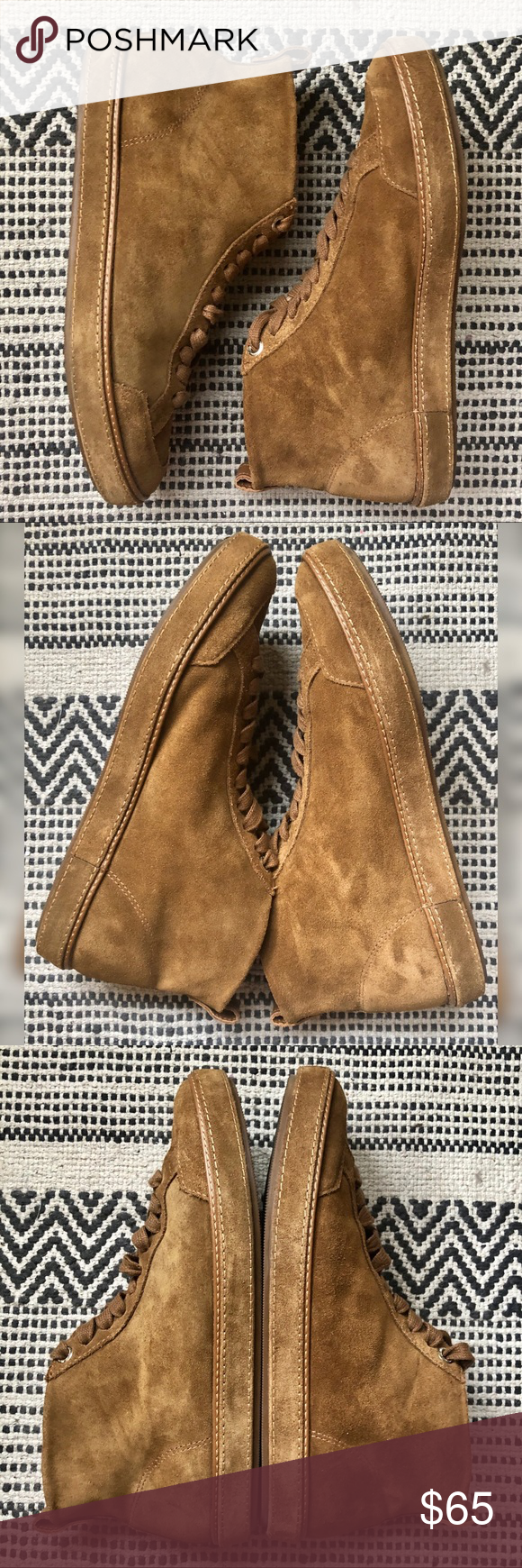 MASSIMO DUTTI Tan Suede Hightop Sneakers in 2020 Suede