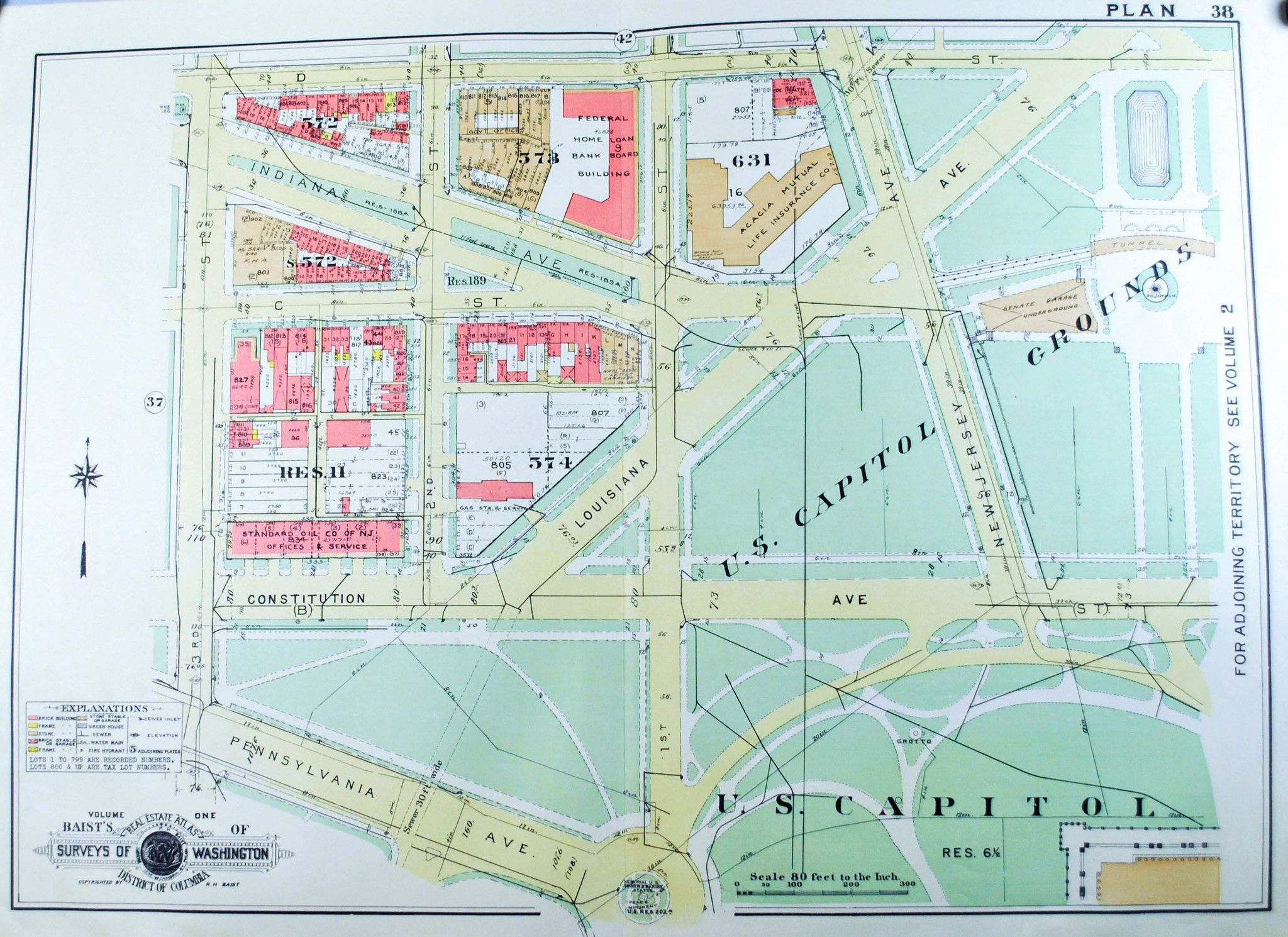 Washington DC US Capitol Grounds Vintage Baist City Map - Map of us capitol grounds