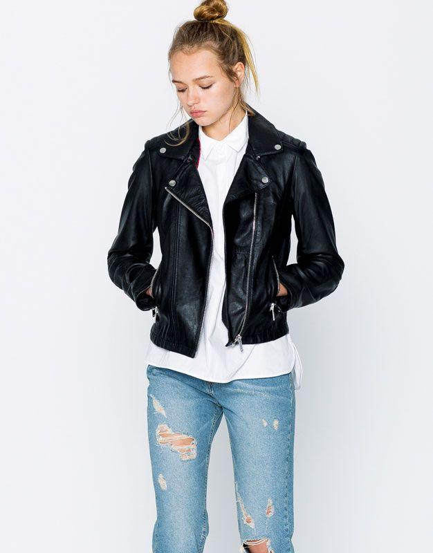 nuevo estilo baratas para la venta en pies imágenes de Cazadora biker piel - Abrigos y cazadoras - Ropa - Mujer ...