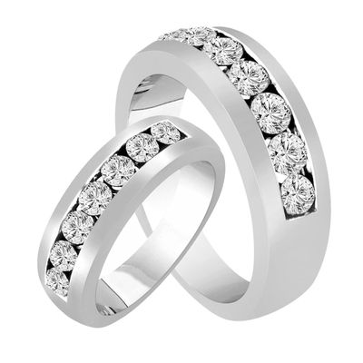 His Hers Wedding Rings Diamond Matching Bands Set Half Eternity Unique Carat White Gold