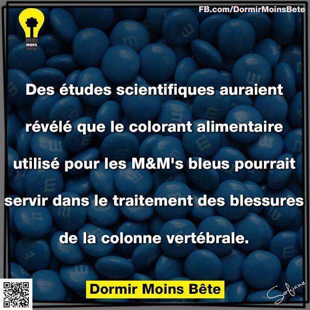 Des études scientifiques auraient révélé que le colorant alimentaire utilisé pour les MM's bleus pourrait servir dans le traitement des blessures de la colonne vertébrale.