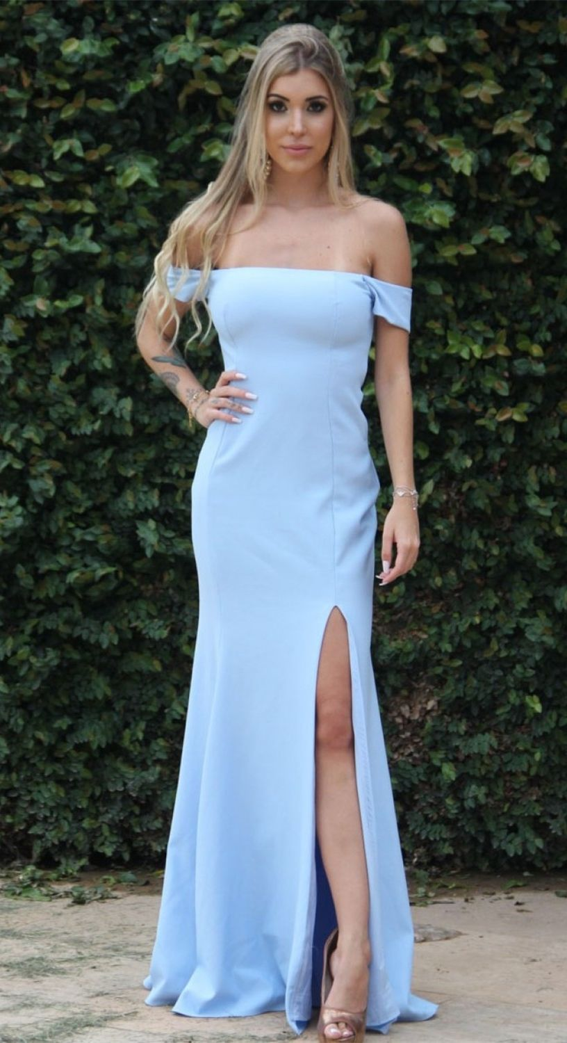 Mermaid offtheshoulder short sleeves light blue prom dress with