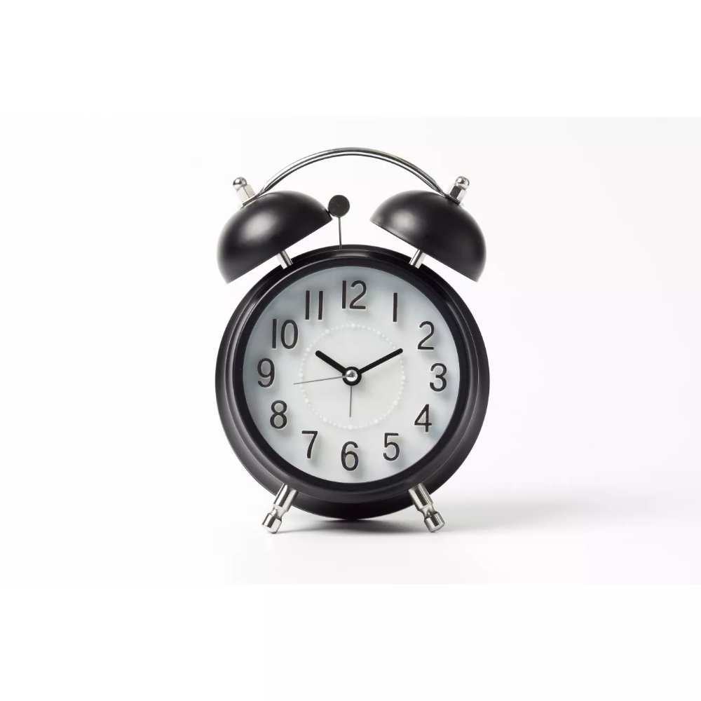 Vintage Modern Twin Bell Alarm Table Clock Black Silver Crosley In 2020 Vintage Alarm Clocks Analog Alarm Clock Alarm Clock
