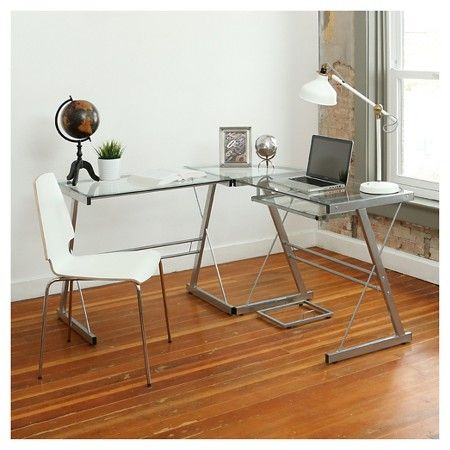 L Shaped Glass Corner Computer Desk Walker Edison Target Ashley Mobel Schreibtischideen Glasschreibtisch