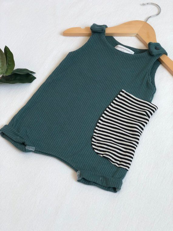 Photo of The 'Roy' romper, baby boy teal blue romper, pocket romper, baby boy clothes, summer boy clothes, harem romper – tank romper.