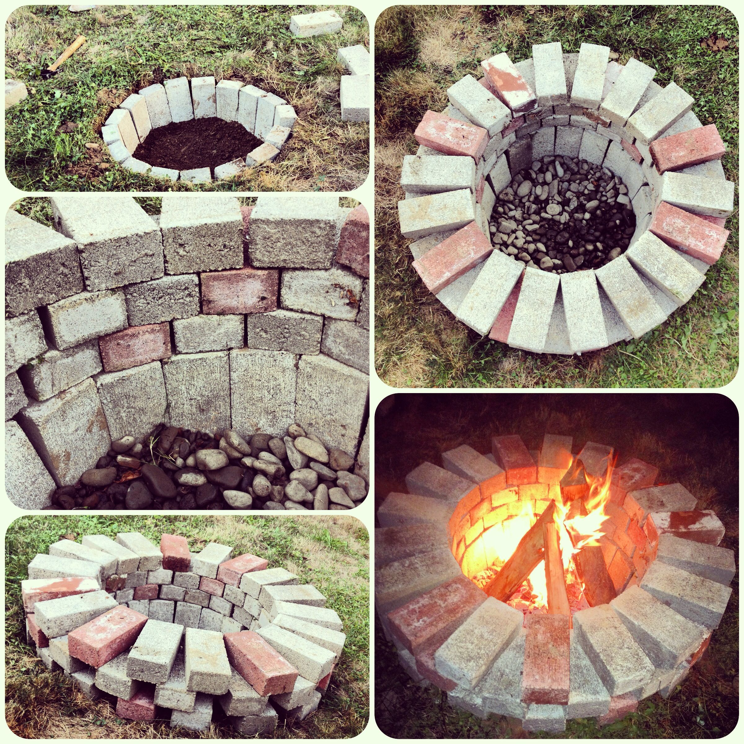 Brick Fire Pit Diy 1 Hour Dig A Hole Line And Stack Voila