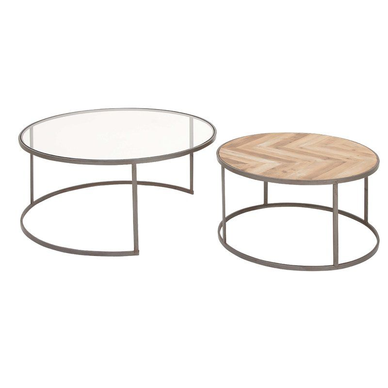 Orkney Contemporary 2 Piece Coffee Table Set Nesting Coffee