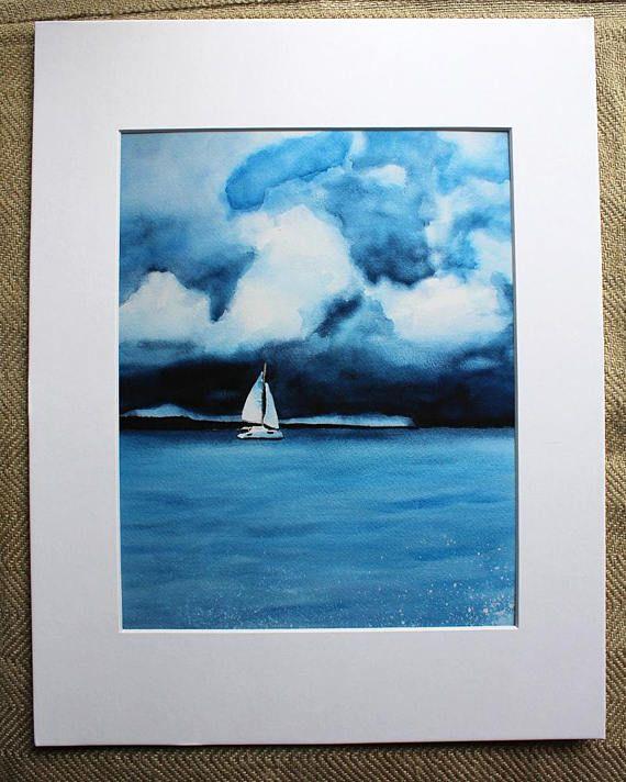 Sailboat Watercolor Print Thunderstorm Thunderclouds
