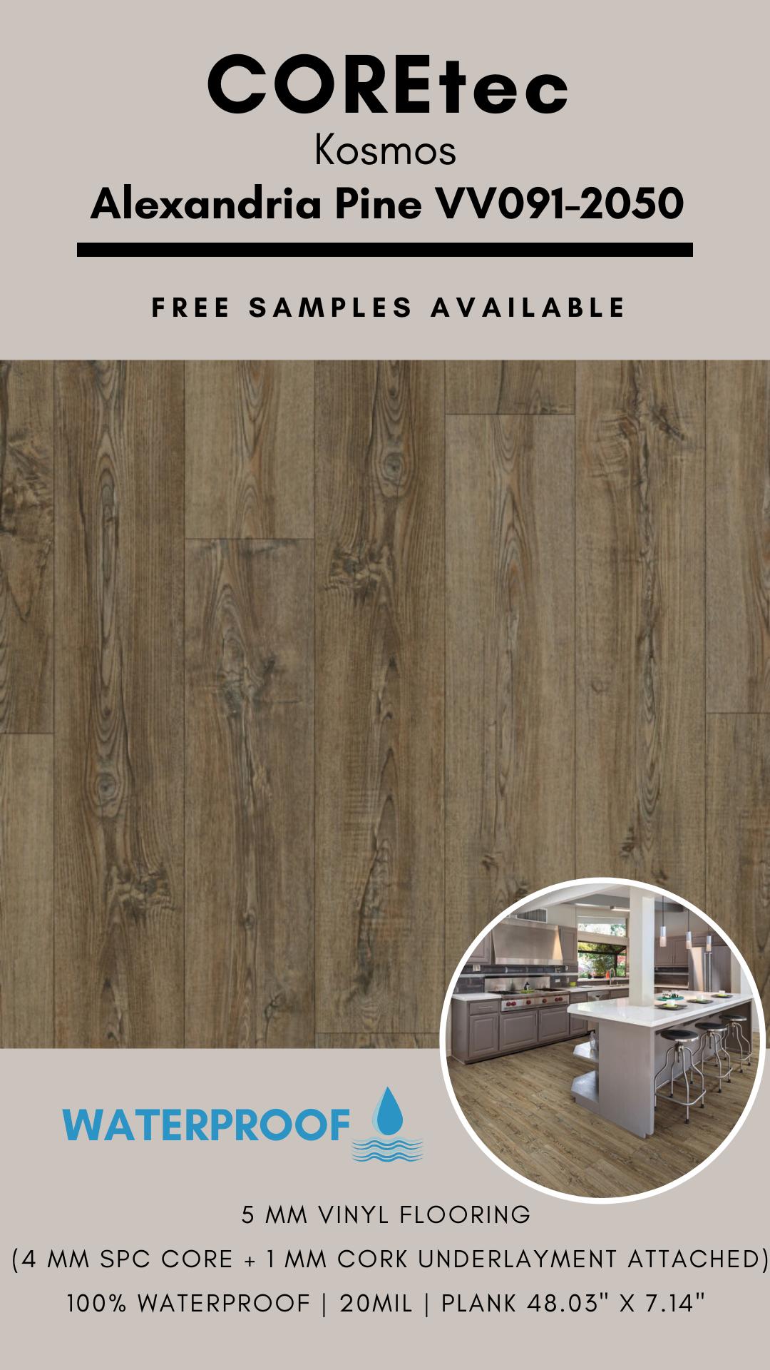 Coretec Kosmos Alexandria Pine Vv091 2050 Spc Vinyl Flooring In 2020 Vinyl Flooring Cork Underlayment Flooring