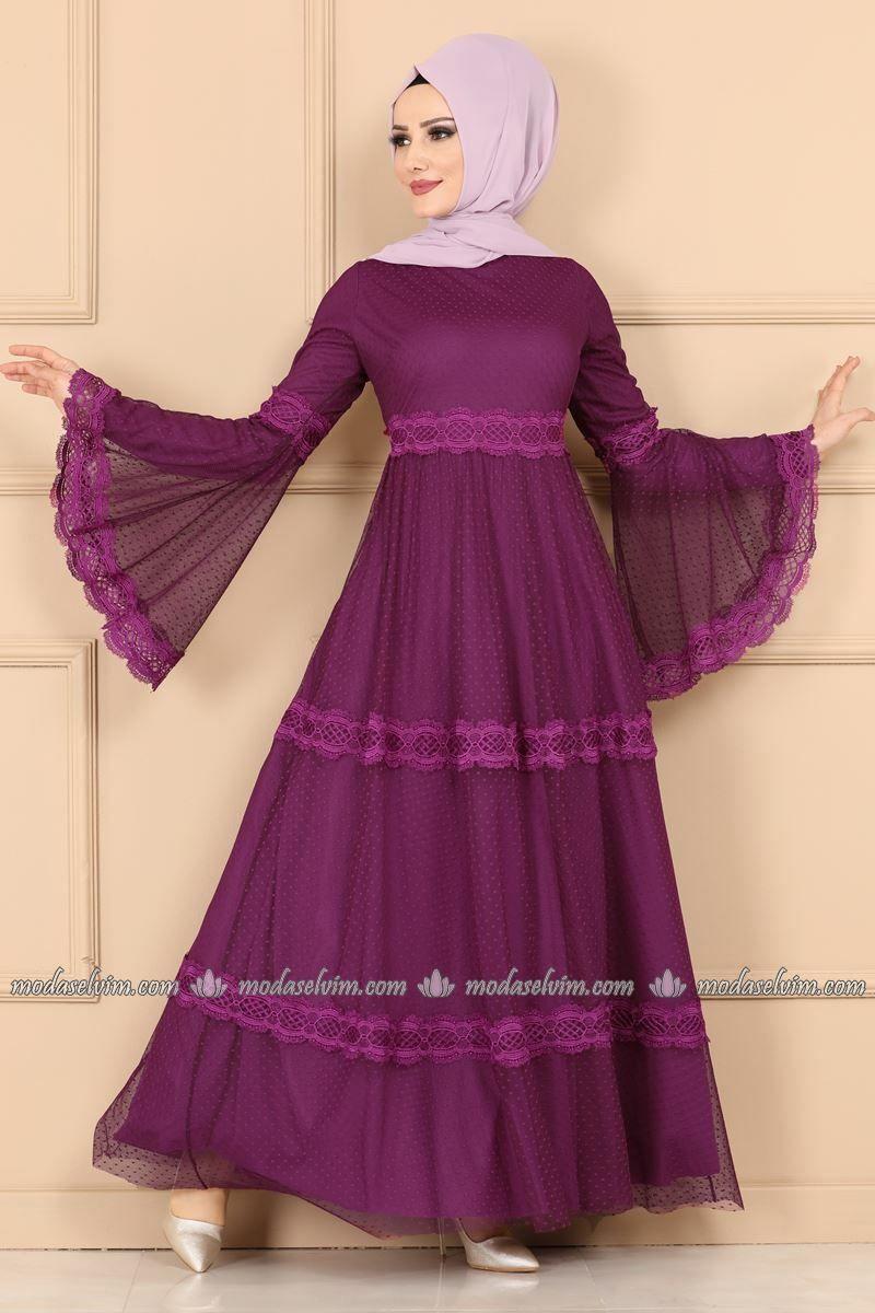 Volan Kol Tul Elbise 5151ay342 Mor Modaselvim Elbise Modelleri Elbise Islami Giyim