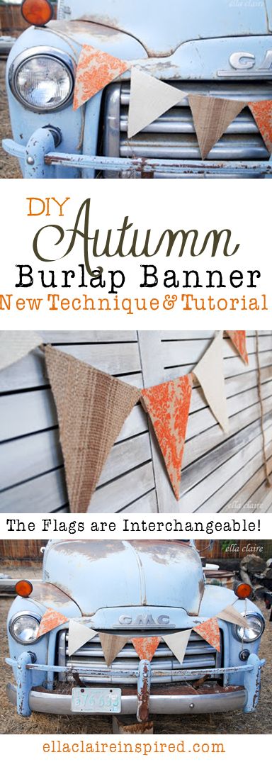 DIY Autumn Banner using an awesome new technique~ full tutorial and sources for this fun burlap by Ella Claire.