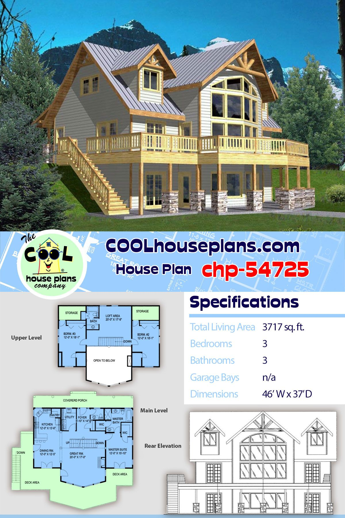Coastal Style House Plan 85316 With 3 Bed 3 Bath Sloping Lot House Plan Coastal House Plans House Plans