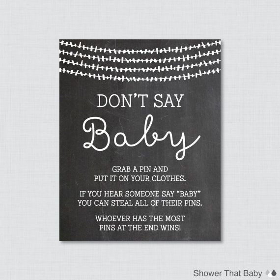 photo about Free Don't Say Baby Printable named Dont Say Kid Child Shower Sport Printable Chalkboard Dont