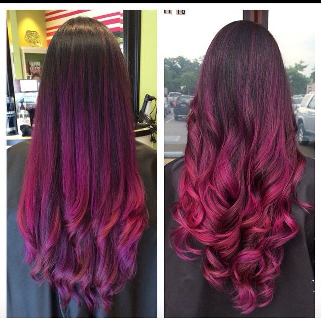 Absolutely gorgeous ombré color melt. Purple melts into wild orchid. Hair by Brittany Lozano, master stylist at Options Hairstyling Inc Chesapeake VA 757.436.7407 (565CedarRd)