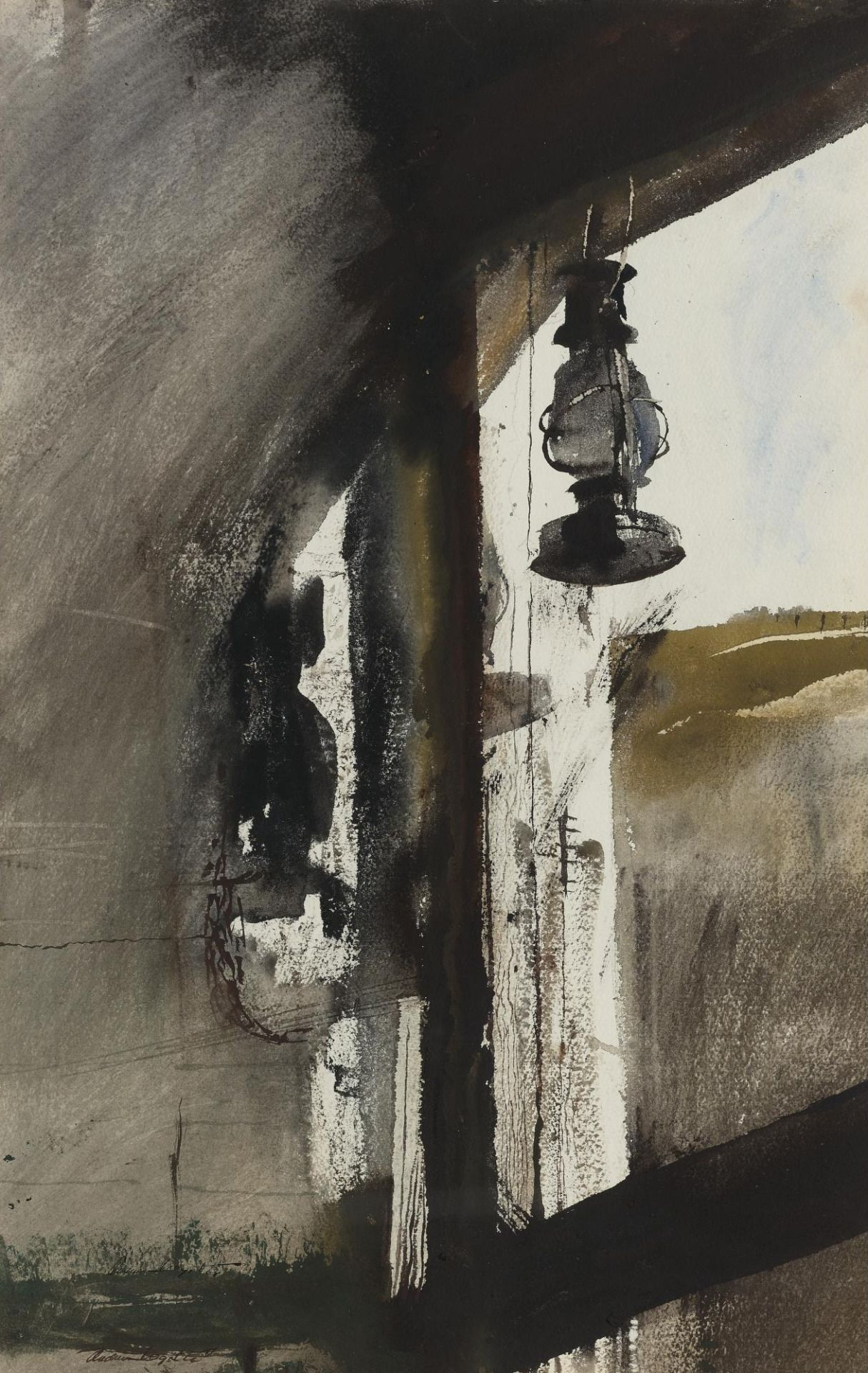 """Shed Lantern,"" Andrew Wyeth (American, 1917-2009), Watercolor on paper, 24 1/4 by 15 1/2 in., 1954"