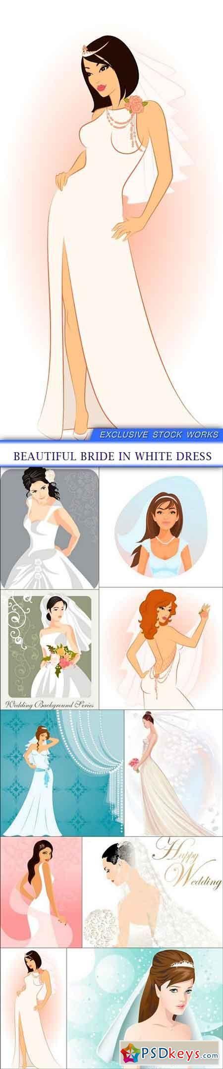 Beautiful Bride In White Dress 10x Eps Beautiful Bride Beautiful Fashion People