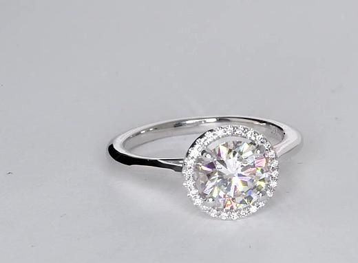 Plain Shank Round Halo Engagement Ring in 14k White Gold ...