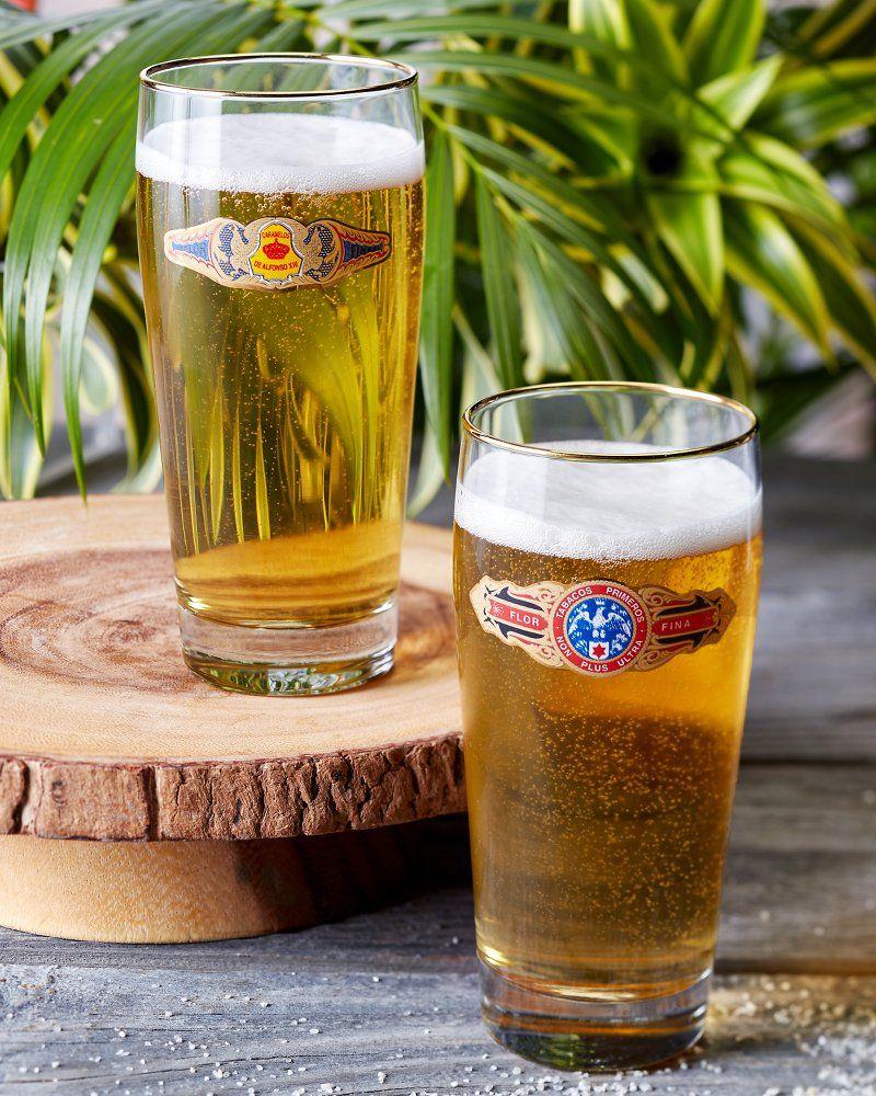 Cigar band pilsner glasses set of two pilsner beer