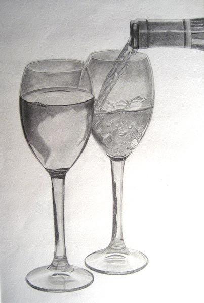 Glaser Bleistift Weinglas Zeichnung Realistisch Zeichnen Bleistift