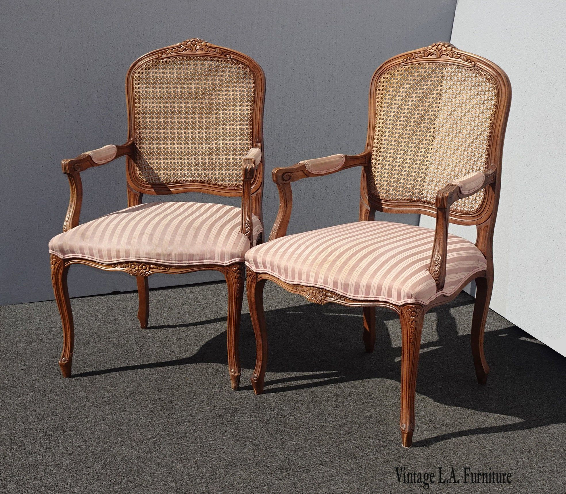 Pair Of French Provincial Country Cane Rose Accent Chairs