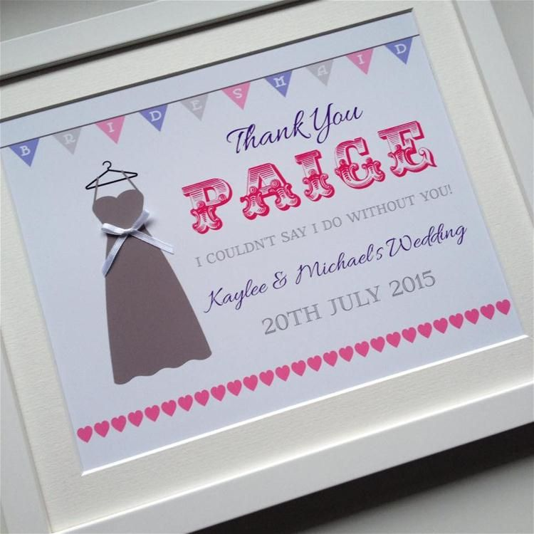Bridesmaid Thank You Gift Frame Print Personalised