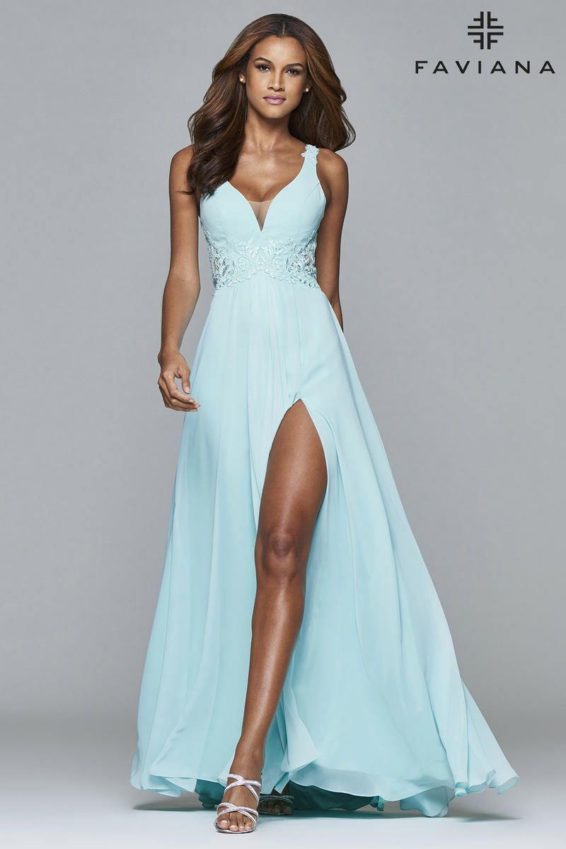 Faviana 7941 is flattering, flowy, and fabulous. This V neck long ...