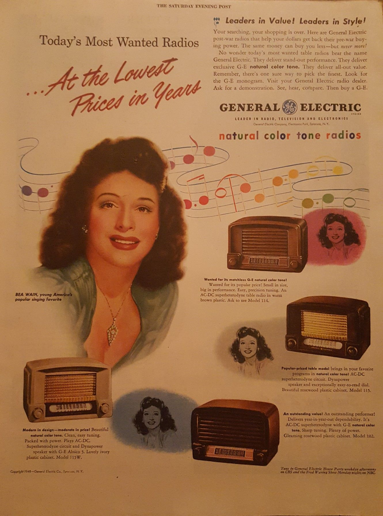 Bea Wain in General Electric ad