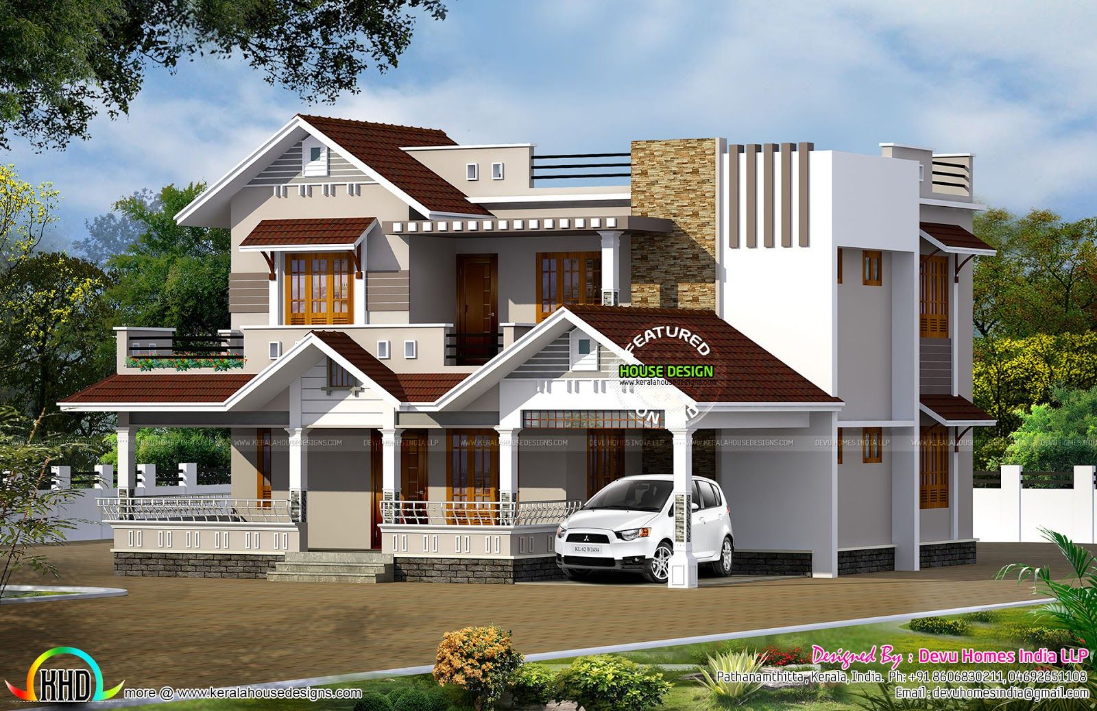 4 Bedroom Mixed Roof Home Part - 24: 2370 Square Feet Mixed Roof Modern 4 Bedroom House Plan By Devu Homes India  LLP From Pathanamthitta, Kerala.