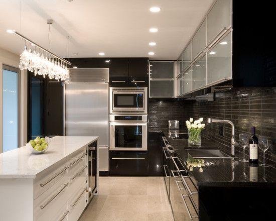 marvelous white kitchen cabinets interior home designs | Lavish Modern Townhouse Design; Black and White Interior ...