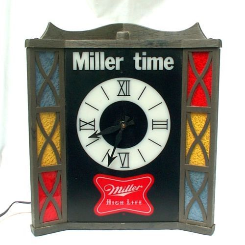 Miller high life beer clock bar light stained glass style its miller high life beer clock bar light stained glass style its miller time aloadofball Choice Image