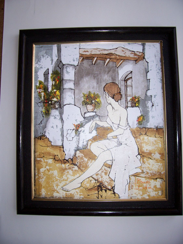 Framed Bernard Dufour Original Painting GIRL on