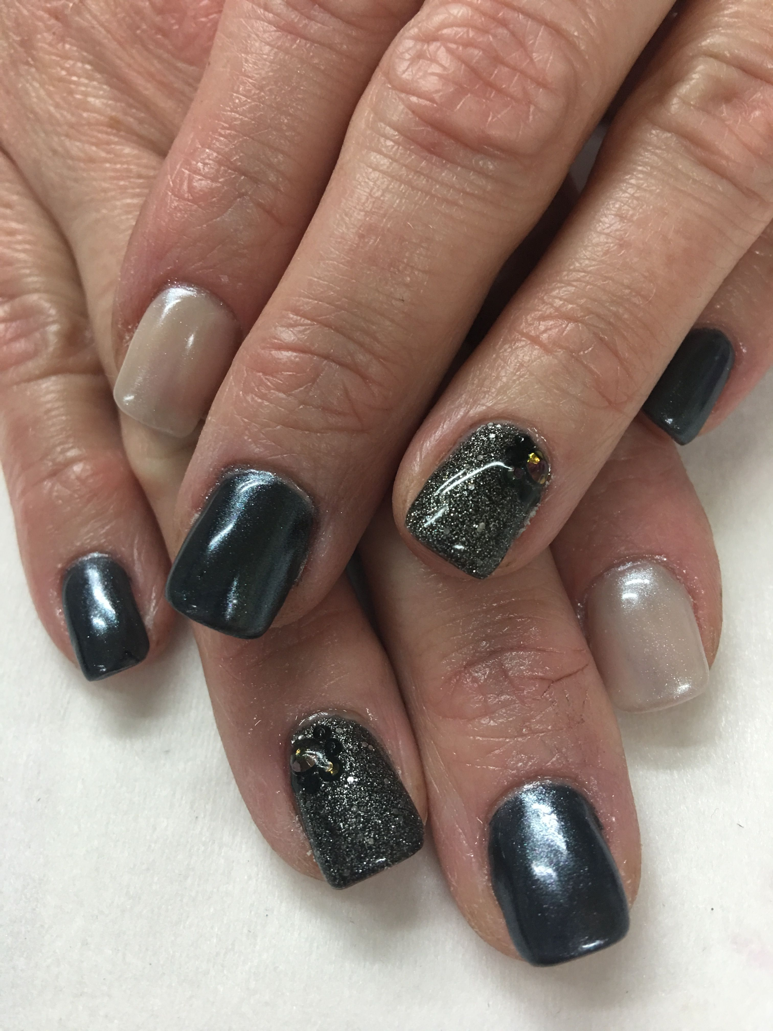 White Chrome Black & off white with rhinestones Gel Nails | Gel Nail ...
