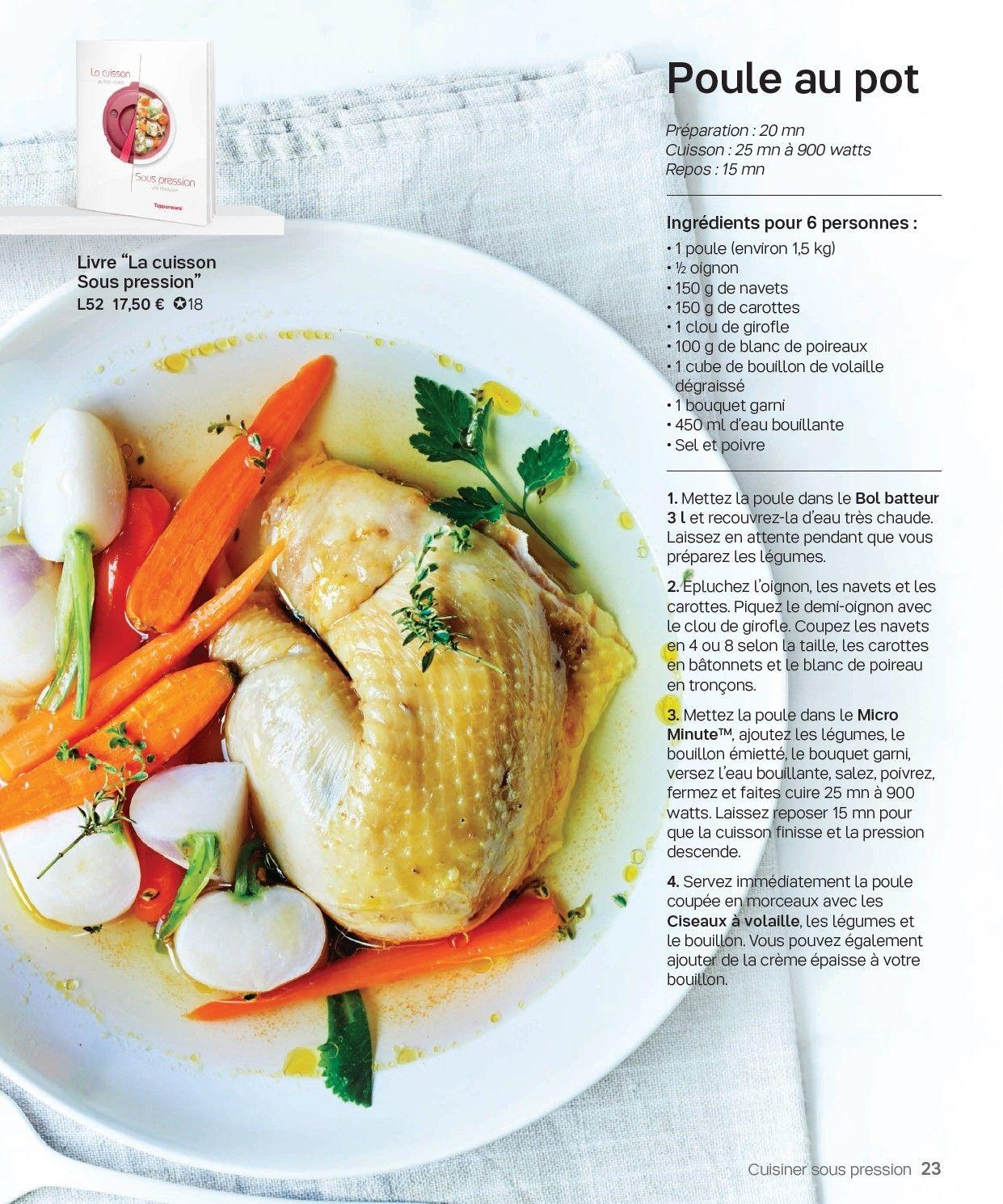 Poule au pot micro minute pinterest recettes tupperware tupperware et poule - Micro minute tupperware recette ...