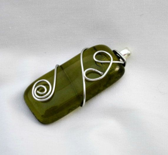Glass Pendant Recycled Wine Bottle Green Gold