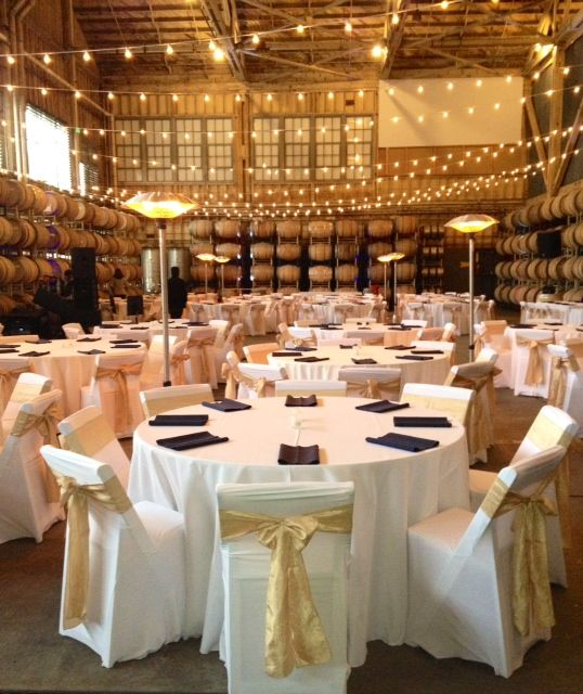 Wedding Reception Chair Rental: Spandex Chair Covers And Vineyard~ How Fitting! Barrels