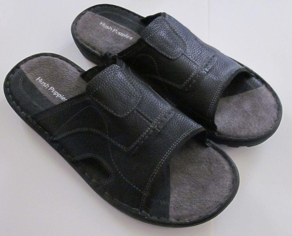 Hush Puppies Men S Driftline Leather Strap Slip On Sandals Size 12 Ew Hushpuppies Strap Sandals Mens Flip Flops Leather Straps