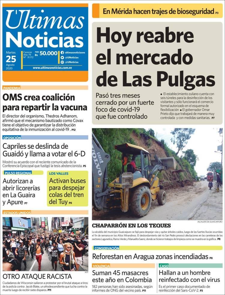 2020 08 25 Periódico últimas Noticias Venezuela Periódicos De Venezuela Toda La Prensa De Hoy Kiosko Net Venezuela Noticias Periodismo