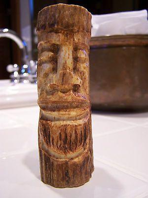 vtg carved antler tiki knife handle deer bone art hand carved face man moari fun
