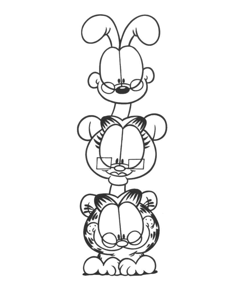 Garfield 12 Ausmalbilder für Kinder. Malvorlagen zum ausdrucken
