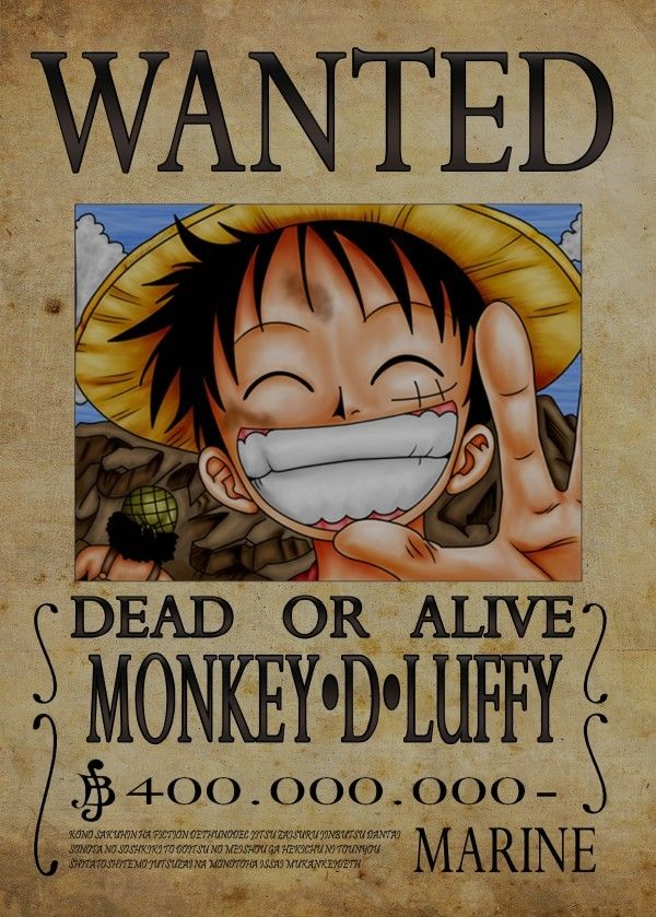 Wanted of monkey d luffy from by popculart 10 tree - One piece luffy wanted ...