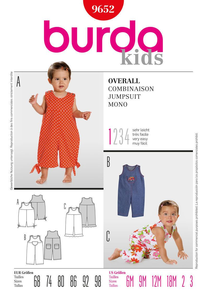 Burda 9652 sewing pattern baby girl boy classic romper dungarees look no further for your baby jumpsuit burda sewing pattern age 6 months to 3 years available to buy on line from sew essential jeuxipadfo Images