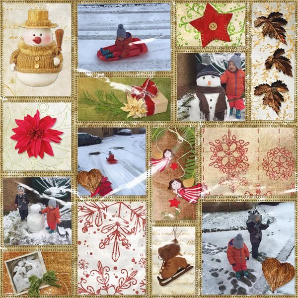 Snow Fun - Kit: Cottage Winter by Booland Designs. Template: My Arty Pockets #8 by Heartstrings Scrap Art