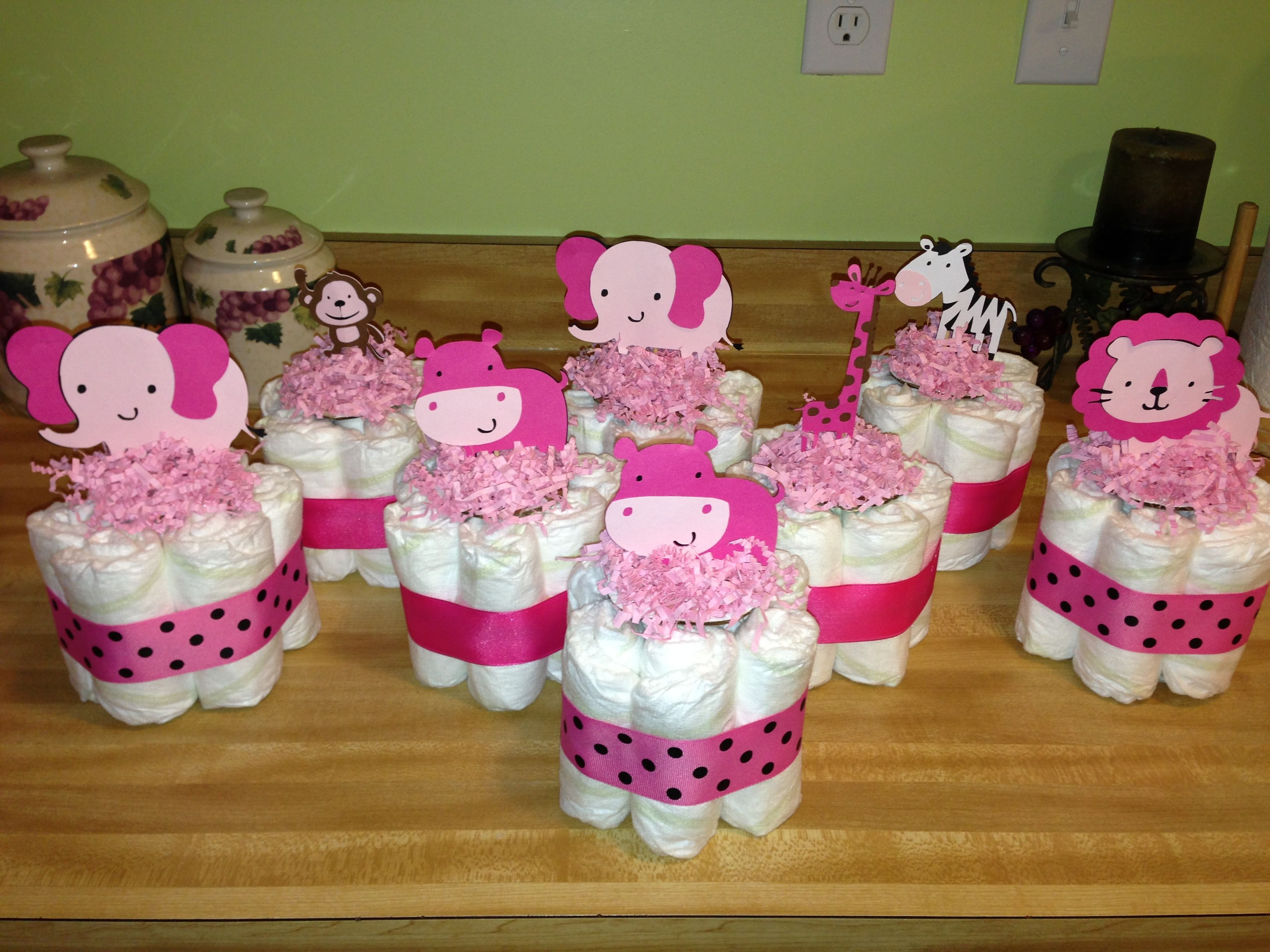 Mini Diaper Cake Centerpieces Baby Shower Centerpieces Simple
