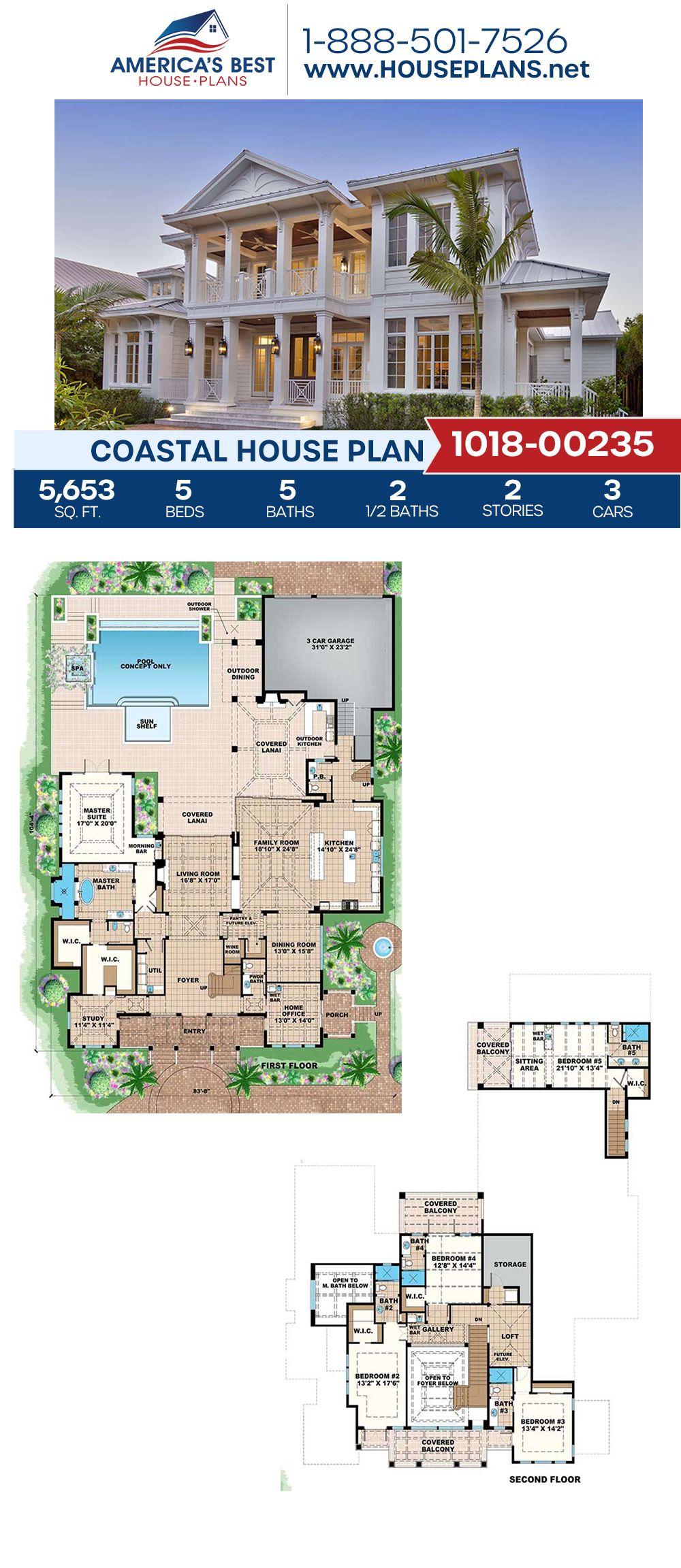 House Plan 1018 00235 Coastal Plan 5 653 Square Feet 5 Bedrooms 6 Bathrooms Coastal House Plans Beach House Floor Plans Beach House Flooring