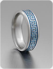 Greek Key Ring In Titanium In 2020 Greek Key Titanium Rings Tattoo Wedding Rings