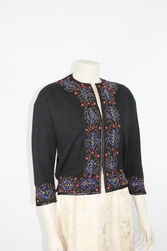 1950s Vintage Cardigan Beaded Sweater - Black CASHMERE with Gold Red and Blue Beading  - Size Large